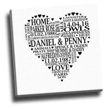 Your Personalised Words In A Heart Shape On Canvas (Approx 30-40 Words)