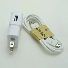 New 2 Amp White Wall Travel Charger Adapter+3 Ft Micro USB Data Cable for Phones
