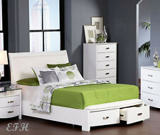NEW LYRIC CONTEMPORARY WHITE FINISH WOOD QUEEN or KING BED w/ STORAGE DRAWERS