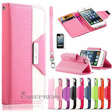 Colorful Shockproof Wallet Card Hybrid Leather Hard Case Cover For iPhone 5 5S