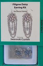 Dangle Bead Earring Kit Swarovski Crystal Bicone Silver Daisy Beads Instructions