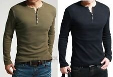Mens T-Shirts Showtime Dexter Kill Shirt Henley Long Sleeve Slim Tee Army Black