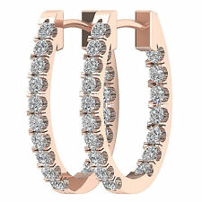 SI1/G 1.01TCW Natural Diamond Jewelry Solid 14K White Gold Hoops Huggie Earrings