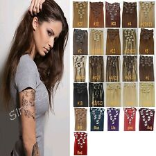 """New 8pcs 20""""22""""24"""" Full Long Head Clip In On Real Human Hair Extensions 27Colors"""