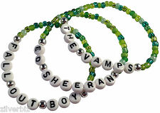 BAND NAMES Green Mix Glass Seed Bead Elastic Bracelet White Letter Beads