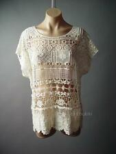 Ivory Romantic Boho 60s Doily Crochet Floral Sheer Lace Top 103 df Blouse M L