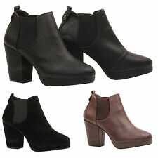 WOMENS LADIES BLOCK HEEL SLIP PULL ON PLATFORM CHELSEA ANKLE BOOTS SHOES SIZE