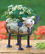 Ceramic & Metal SHEEP. LADYBUG Animal Planter Flower Pot Indoor/ Outdoor. NICE