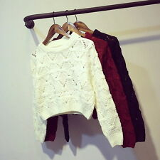 Womens Casual Long Sleeve Crew Neck Hollow Out Crochet Geometric Knitted Sweater