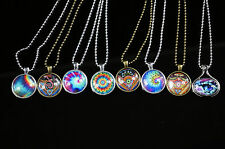 Hippie Rainbow Hand Crafted Round Pendant Zinc Alloy Brass ball-chain necklace