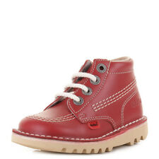 INFANT KIDS KICKERS KICK HI CORE RED NATURAL LACE UP LEATHER BOOTS SHOES SIZE