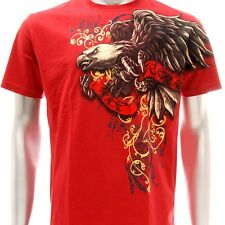 a56r Artful T-shirt Sz M L Tattoo Skull Eagle Graffiti Art Street Men Red Cotton