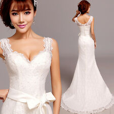 Lace Flowers Formal White Mermaid Wedding Dress Train Dress Bowknot V Neck Y153F