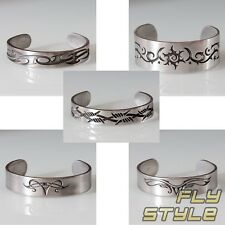 PEWTER BRACELET TRIBAL bangle wrist cuff silver tattoo barbed wire moon wings bh