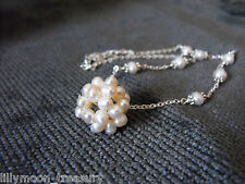"""necklace with white fresh water pearl ball & beads 16-18"""" long"""