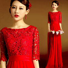 Women's Red Skirt Formal Evening Prom Bridesmaid Dress Ballgown Lace Flower Y141