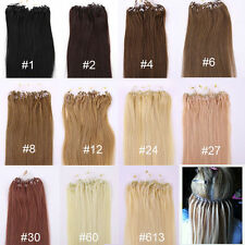 Loop Micro Rings Beads Tip Remy Human Hair Extensions Straight 100s 200s new