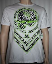 Metal Mulisha SHRED TEE Men's White With Green/Black Graphics T-Shirt **