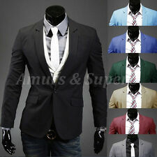 HOT Stylish Men Casual Slim Fit One Button Suit Blazer Black Coat Jacket 8Color