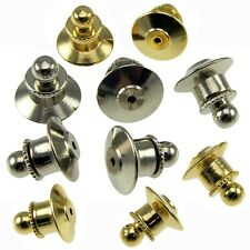 25 Locking Ball Top Tie Tac Pin Backs Clutch Clasp Fastener Gold or Chrome HRC