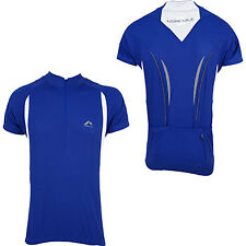 More Mile Short Sleeve Mens Cycle Cycling Bike Jersey Top Blue Pockets