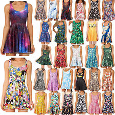 Women's 3D Graphic Printed Cartoon Animate Chic Skater Two-Way Singlet Dresses
