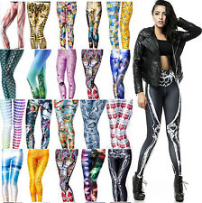 Womens Sexy Digital Graphic Design Printed Pattern Stretch Tights Pants Trousers