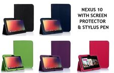 Slim Leather Stand Case Cover For Google Nexus 10 with Screen Protector & Stylus