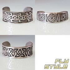 BANGLE CELTIC KNOTS TRIQUETA BRAID wrist cuff bracelet medieval gothic silver