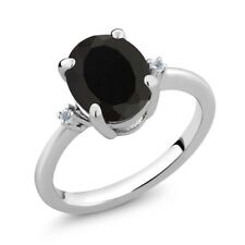 2.23 Ct Oval Black Onyx White Topaz 925 Sterling Silver Ring