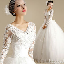 Long Sleeve White Wedding Dress Bridal Gown Bowknot Lace Flower V Neck Y186F