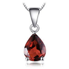Oval Cut Fire Red Garnet Gemstone Silver Necklace Pendant 1 3/8 Inch +Free Chain