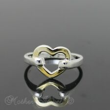 GOLD LOVE HEART STERLING SILVER PLATE LADIES ANNIVERSARY WEDDING BAND RING SZ 9