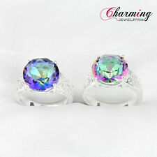 2 Pcs 1 Lot Natural Rainbow Mystical Topaz Gemstone Silver Rings Set