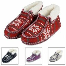 Ladies Fairisle Patterned Knitted Bootie Style Slippers With Non Slip Soles New