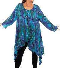 Plus Size We Be Bop WATER FLOWER Flat Rayon COMBO TUNIC Jacket  Lagenlook Artsy