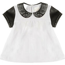 Kardashian Kids Girls Short Sleeve Peter Pan Collar Top