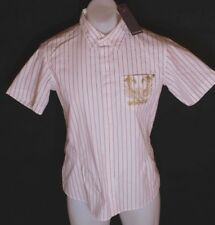 BNWT MENS FIRETRAP SHORT SLEEVED STRETCH SHIRT NEW WHITE RED STRIPED