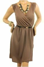 DEALZONE Alluring V- Neckline Dress 1X 2X 3X Women Plus Size Beige Casual
