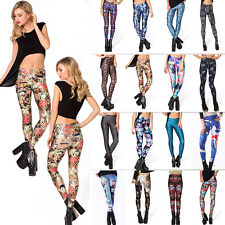 Sexy Women's Pattern Print Design Colorful Stretch Trousers Skinny Tights Pants