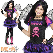 Pink Skull Fairy Girls Fancy Dress Haloween Fallen Angel Kids Childs Costume New
