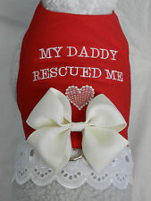 """DOG CAT FERRET Custom Rescue Harness~""""MY DADDY RESCUED ME"""" Promote Adoption Bow"""