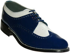 Stacy Baldwin Wingtip Oxford Royal Blue and White Patent Leather Tuxedo Shoes