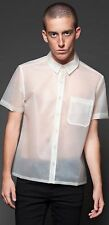 LIP SERVICE KINETIC CLEAR FROSTED RUBBER BUTTON UP MEN SHIRT US SIZES