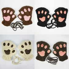 FURRY FLEECE PAW PRINT CUTE ANIMAL NOVELTY GLOVES MITTENS WINTER #GV060
