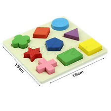 Kids Baby Wooden Learning Educational Toy Geometry Block Puzzle Montessori Early