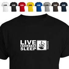 Bagpipes Scottish Music Gift T Shirt Eat Live Breathe Sleep Bagpipes 011