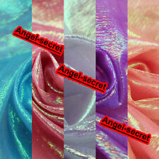 """MAT61 47"""" Wide Luxury iridescent Crystal Organza DIY Fabric BY Meter"""