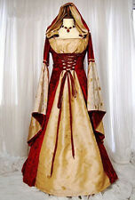 Women Hofadel Renaissance Medieval Vintage dress Costume Cosplay Gown Red&Yellow