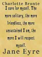 A4 Parchment Poster Charlotte Bronte Jane Eyre Quote RESPECT MYSELF Greetings av